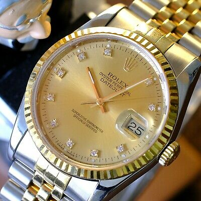 $7245 • Buy Rolex Mens Datejust 16233 Factory Champagne  Diamond  Dial 36mm Watch Quickset