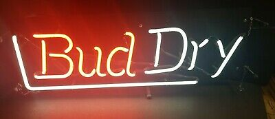 $ CDN302.39 • Buy 1989 Bud Dry Beer Neon Sign Light Red White Lights WORKS Nice 28 X9