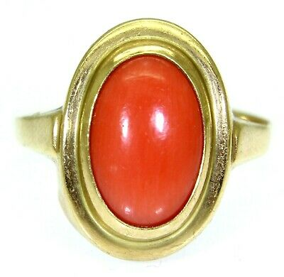 £245 • Buy Vintage Slim Oval Coral 9ct Yellow Gold Ring Size O ~ US 7 1/4