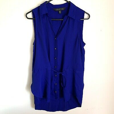 AU17.99 • Buy Forever New Top Size 8 Ladies V Neck Short Sleeve Work Blouse Buttons Tie Blue