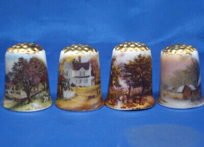 £8.95 • Buy Birchcroft Thimbles -- Set Of Four  -- Gold Top Four Seasons Of The Year