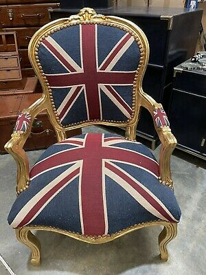 £145 • Buy French Louis Style Shabby Chic Chair Union Jack With Gold Frame