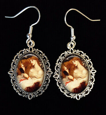 $ CDN18.67 • Buy Rossetti Lady Lilith Antique Silver Earrings Pre-Raphaelite Red Head Auburn