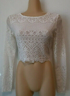 AU12 • Buy FOREVER NEW White Lace Long Sleeved Crop Top. Size 8
