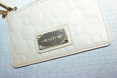 AU15 • Buy AS NEW/RRP$79.95 OROTON Cream O Logo Leather Key Wallet/Roche Zip Coin Purse
