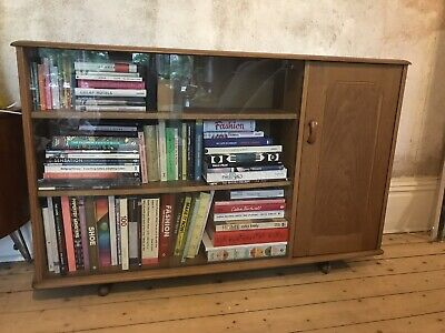 £120 • Buy Retro Vintage Priory Glass Fronted Bookcase Display Book Shelf Sideboard