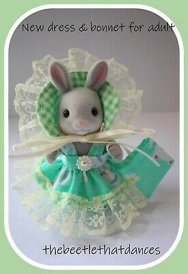 £5.99 • Buy Sylvanian Clothes New Dress A With Frill Bonnet For Adult Rabbit,Cat,Fox ETC