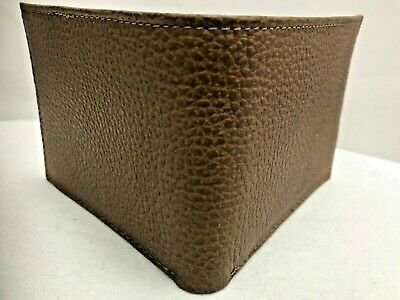 $ CDN35.14 • Buy Handmade Bifold Brown Grained Pattern Leather Wallet Made In Mexico