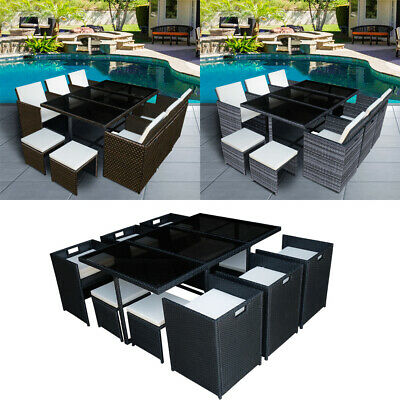 £359.99 • Buy 9/11 Pieces Rattan Garden Furniture Set Cube Dining Chairs Table Outdoor