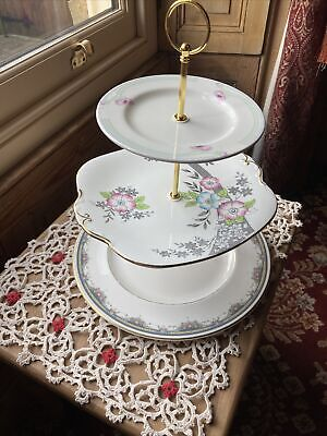 £10 • Buy Cake Stand Newly Made With Gold Centre Rod. Three Tiers. Pink/white/green/grey.