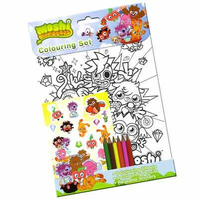 £1.99 • Buy Moshi Monsters Colouring Set With Pencil Crayons And Reusable Stickers