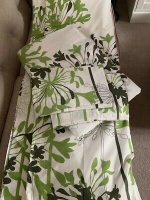 £22.50 • Buy Tab Top/Pencil Pleat Curtain & Matching Double Duvet Set - Green & Cream