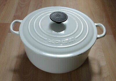 £53 • Buy Genuine Le Creuset Cast Iron Round 24cm White Casserole Dish Pot Pan With Lid