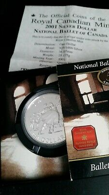 £25 • Buy  Royal Canadian Mint Silver Dollar 2001 50 Years National Ballet Silver Proof