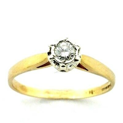 AU286.05 • Buy Ladies/womens, 9ct Engagement Gold Ring Set With A Solitaire Diamond, UK Size M