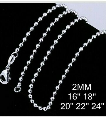 £3.95 • Buy Sterling Silver 925 Ball Bead 2mm Width Chain Necklace Sizes 16  18  20  22  24
