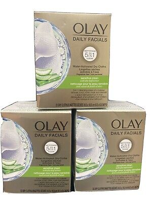 AU25.73 • Buy 3 Pk Olay Daily Facials 5in1 Sensitive Clean Water Activated 99 Dry Cloths Total