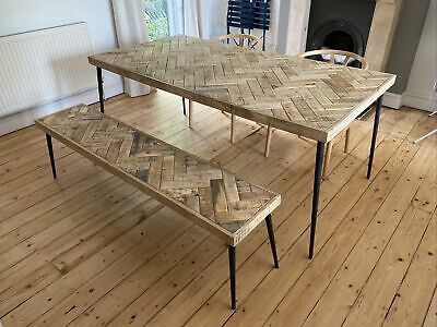 £300 • Buy Graham & Green Chevron Mango Wood Dining Table. Bench Also Available