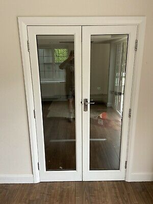 £24.99 • Buy WOODEN DOUBLE WHITE INTERIOR DOORS 1940x1160 DOUBLE GLAZED , WITH FRAME
