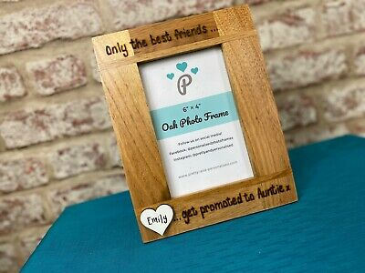 £16.99 • Buy Best Friend Promoted To Auntie, Baby   Personalised Solid Oak Wood Photo Frame