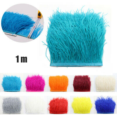 £6.99 • Buy 1m Ostrich Feather Fringe Trimming For Millinery Hat Craft Dress Decor 12-15cm