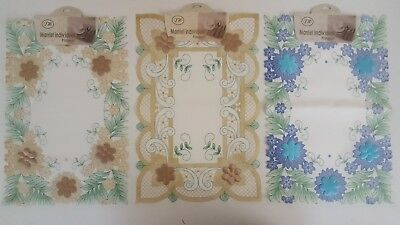 £2.90 • Buy 2 Rectangle Embossed Lace Fabric Placemats Washable Table Mats  Floral Dinning