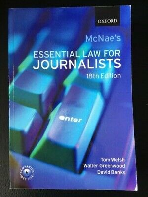 £1.50 • Buy McNae's Essential Law For Journalists, Welsh, Greenwood & Banks, Great Condition
