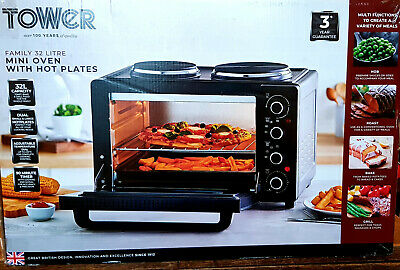 £80 • Buy Tower 32l Table Top Compact Electric Mini Oven With 2 Hotplates Caravan T14044