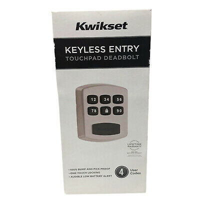 $ CDN47.04 • Buy Kwikset Keyless Entry Touchpad Deadbolt 4 User Codes Grade 3 Security 99050-003