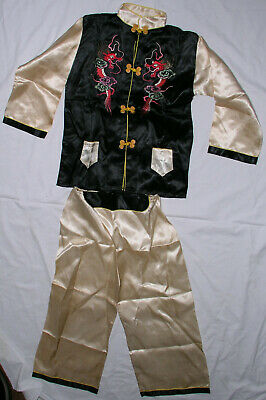 £18.45 • Buy Boys Tang Suit Size XL Red Dragon Asian Satin Chinese New Year Halloween 2 Pc
