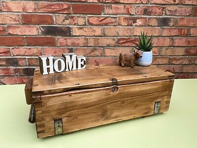 £50 • Buy Rustic Ex Military Wooden Ammo Box Reclaimed Home Trunk Hamper Chest Toolbox
