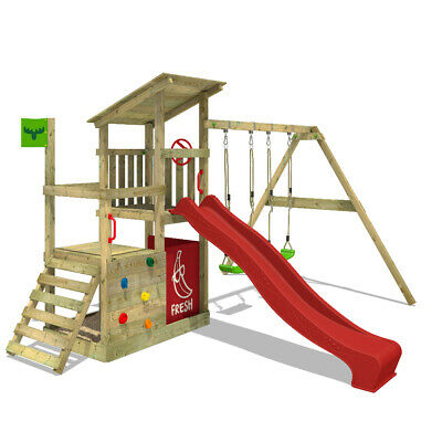 £563.94 • Buy Wooden Climbing Frame FATMOOSE FruityForest - With Red Slide And Sandpit