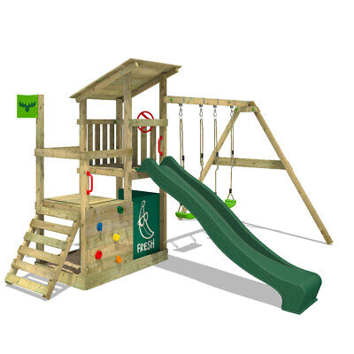 £459.95 • Buy Wooden Climbingframe FATMOOSE FruityForest - With Green Slide And Sandpit
