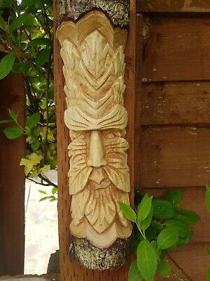 £15.99 • Buy Green Man Wood Carved Tree Wall Hanging Decoration Gift 30cm Long