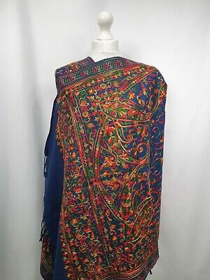 £35 • Buy Kashmiri Shawl Embroidery Floral Embroidered Cashmere Wool Scarf Women's Ladies