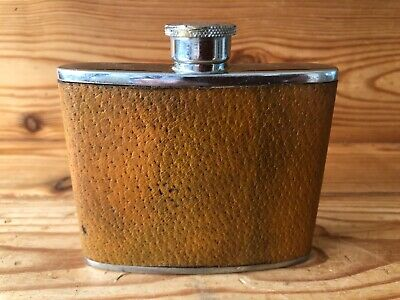 £14.99 • Buy VINTAGE Brown/Tan Leather Hip Flask Hunting Shooting - Made In England 4 Oz