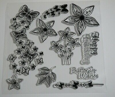£2.99 • Buy Butterfly Wishes Clear Stamps - Butterflies, Flowers, Leaves, Sentiments