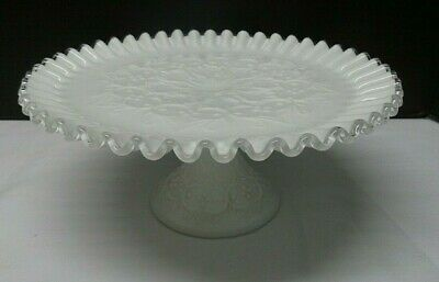 $59.99 • Buy Vintage FENTON Silver Crest Milk Glass SPANISH LACE Footed Cake Stand Plate
