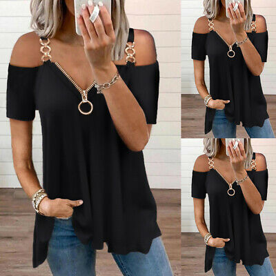 £10.29 • Buy Women Zip Up V Neck Sexy T-Shirt Tops Cold Shoulder Short Sleeve Casual Blouse