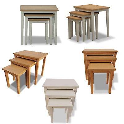 £49.99 • Buy Nest Of 3 Tables Nesting Coffee Side Table Wooden White Pine Space Saving Table