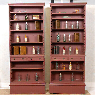 $1234.34 • Buy Pair Large Open Bookcases 2 Painted Library Bookshelves Antique Vintage Tall