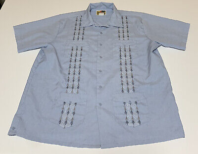 £14.14 • Buy Haband Guayabera Blue Embroidered Short Sleeve Button Down Shirt Sz L