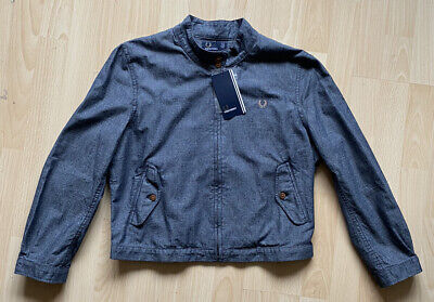 £45 • Buy Fred Perry Uk Size 12 Eu 40 Us 8 Womens Blue Harrington Jacket New With Tags