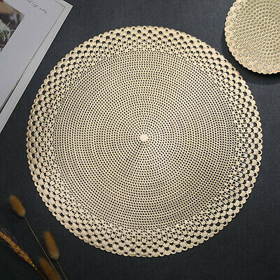 £13.99 • Buy Gold Placemats & Coasters Round Vinyl Place Mat For Kitchen Dining Table Wedding