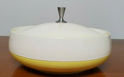 $22 • Buy Vintage Insulated Covered Dish Bowl Yellow And White Vacron Bopp Decker Inc.
