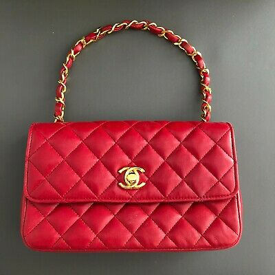 £2085.73 • Buy CHANEL Classic Flap Mini Chain Shoulder Bag Quilted Red Leather