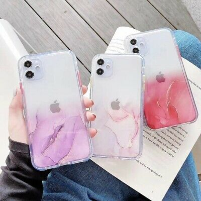 AU7.99 • Buy Clear Marble Shockproof Case Glitter Bling Cover For IPhone 12 11 Pro Max