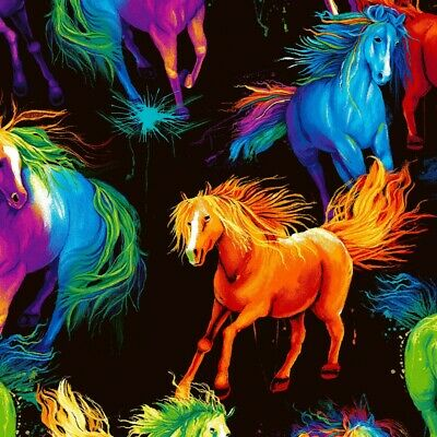 £7.95 • Buy 100% Cotton Fabric By 1/2 Metre Timeless Treasures Spirit Bright Painted Horses