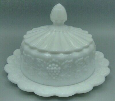 $15.95 • Buy Westmoreland Milk Glass Paneled Grape Leaf Covered Round Cheese Butter Dish
