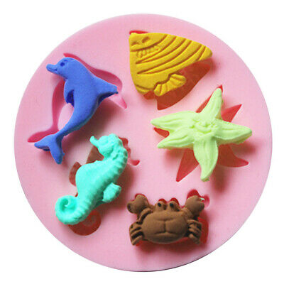 £2.99 • Buy SEA SHELLS ANIMALS FISH Silicone Fondant Cake Topper Mold Mould Chocolate Candy